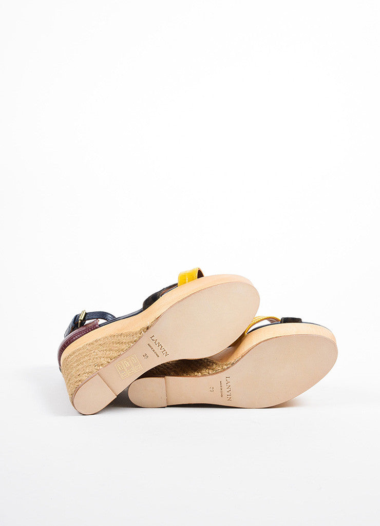 Black, Red, and Yellow Lanvin Pony Hair Lizard Wood Espadrille Sandals Outsoles