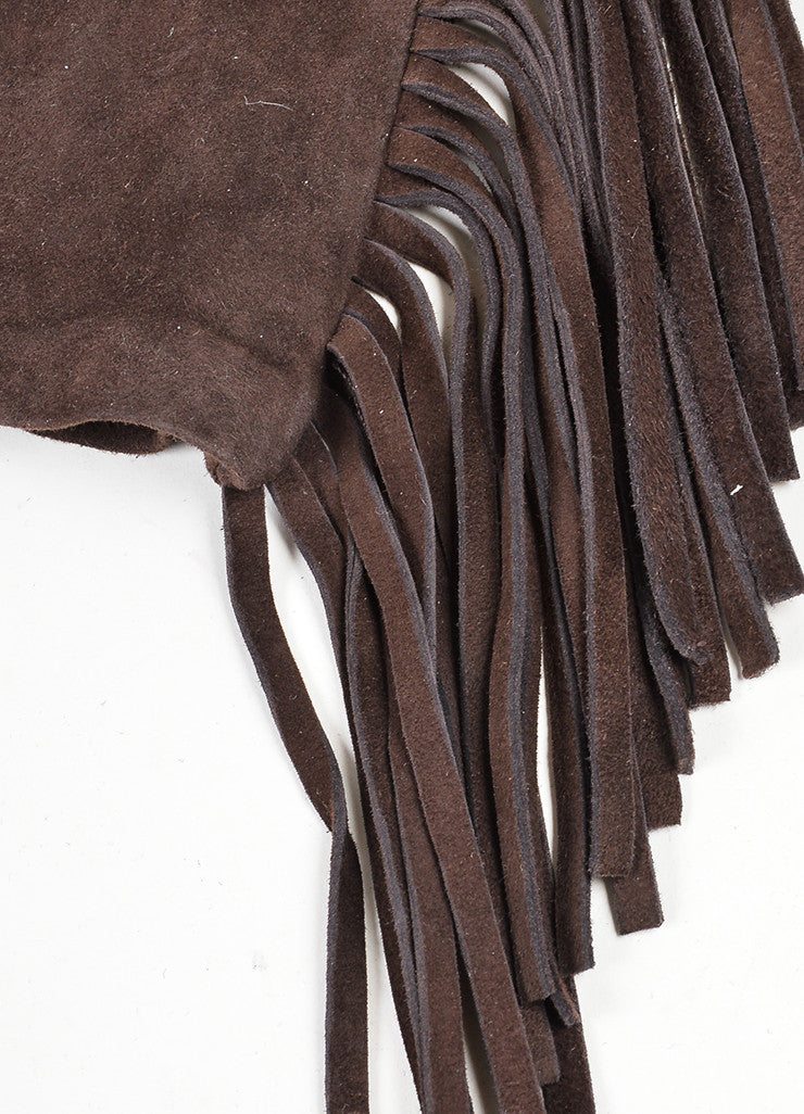 Brown Lanvin Suede Leather Fringe Trimmed Short Gloves Detail