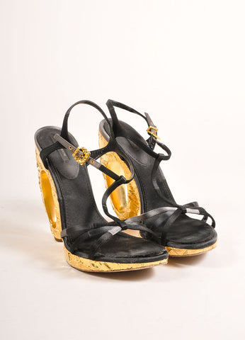 Louis Vuitton Black Satin and Gold Toned Foiled Strappy Cut Out Sandal Heels Frontview