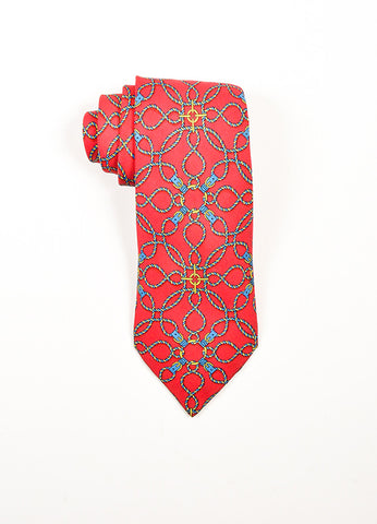 Men's Hermes Red Blue Yellow Silk Rope Print Necktie Front