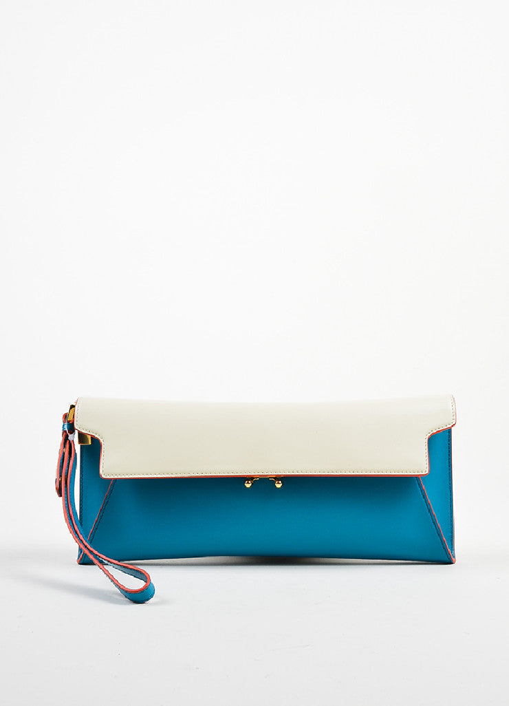"Marni ""Vivid Blue Antic White"" Leather ""Origami"" Clutch Bag Frontview"
