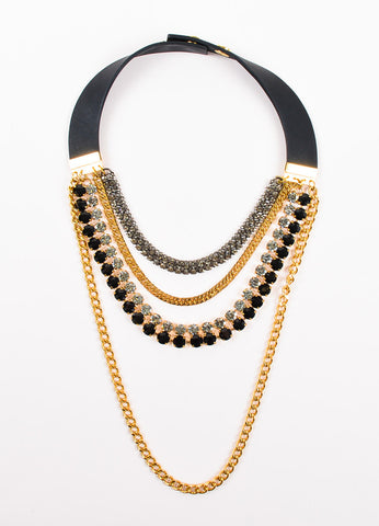 Marni Gold Toned and Black Crystal Layered Multi Strand Chain Necklace Frontview