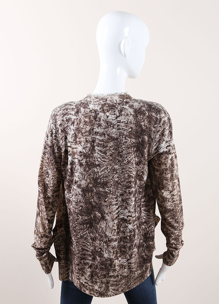 Oscar de la Renta New With Tags Cream and Brown Wool Silk Trim Printed Cardigan Backview