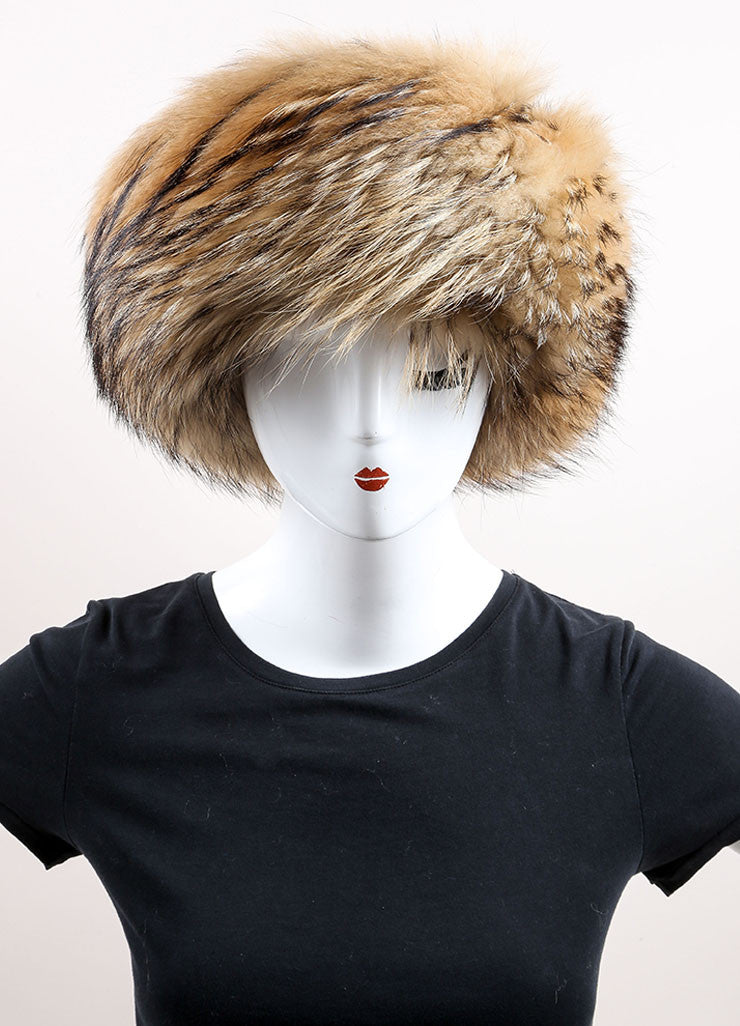 Prada Brown and Black Raccoon Fur, Wool, and Cashmere Knit Cossak Cappello Hat Frontview