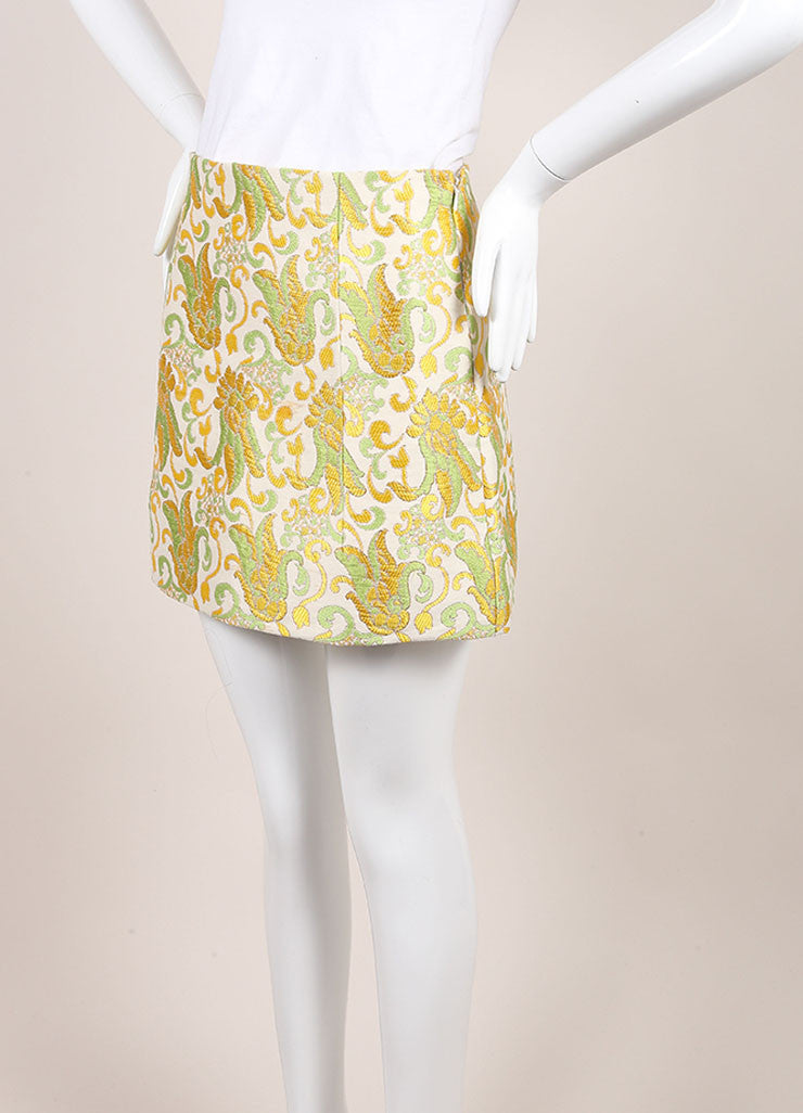 Prada Cream, Green, and Yellow Cotton and Silk Brocade Short A Line Skirt Sideview