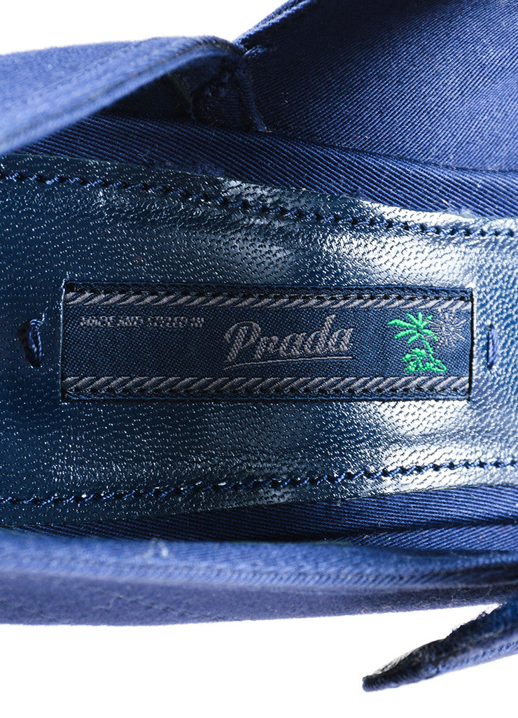 "Prada Blue and White ""Baltico"" Canvas ""Gabardine"" Mary Jane Pumps Brand"