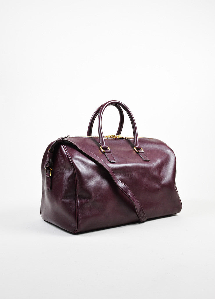 "Burgundy Leather Saint Laurent ""Classic Duffle 12"" Satchel Bag Sideview"