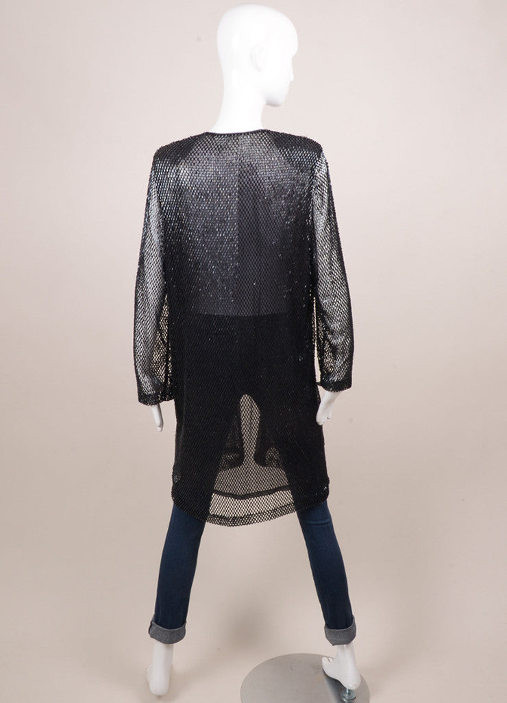 Vintage Navy Sequin Open Front Long Jacket Backview