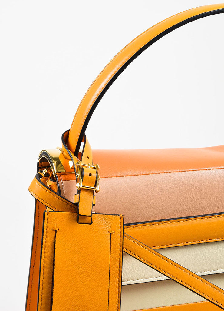 "Valentino Garavani Orange Leather Striped ""My Rockstud"" Satchel Bag Detail 2"