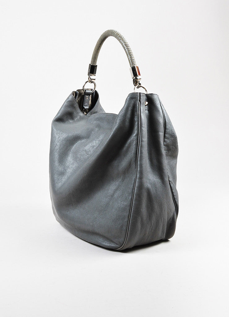 "Yves Saint Laurent Grey Leather Stingray Handle ""Roady"" Hobo Bag Sideview"