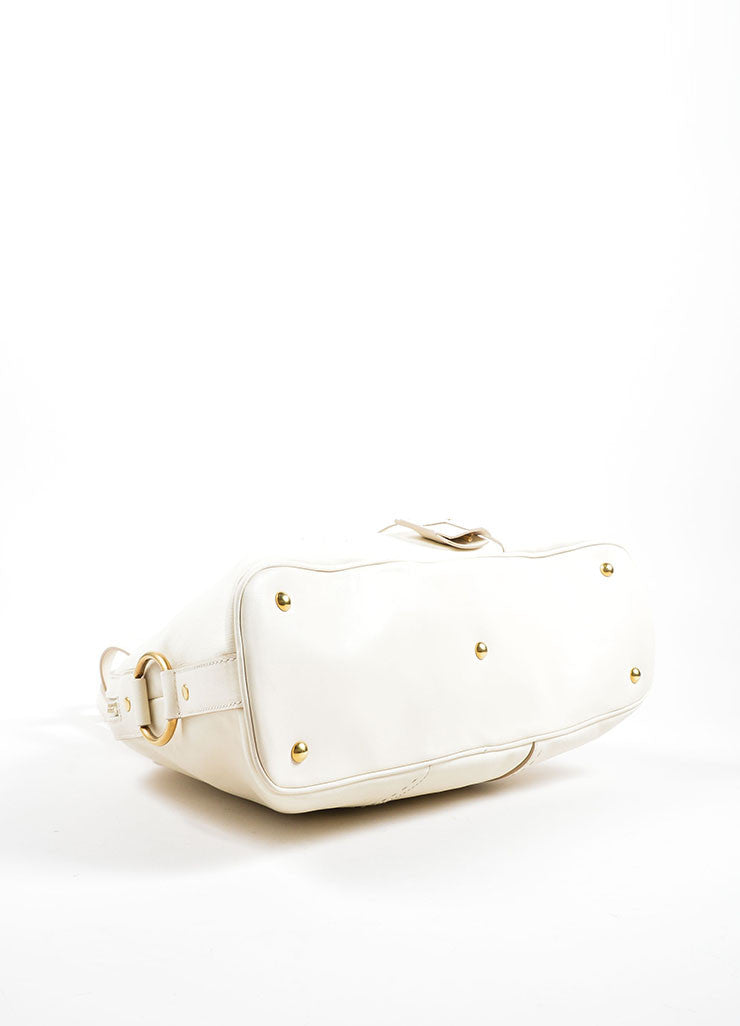 "Yves Saint Laurent Cream ""Muse"" Shoulder Bag Bottom"