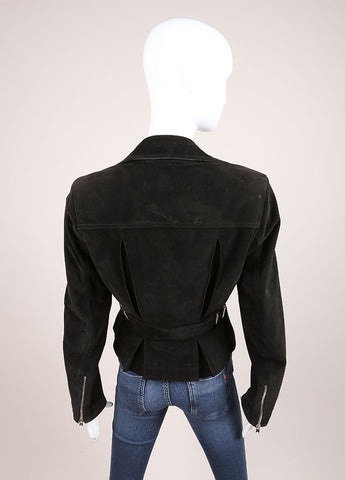 Alaia Black Suede Zip Moto Jacket Backview