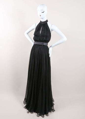 Alexander McQueen Black Silk Chiffon Halter Cut Out Back Gown Sideview