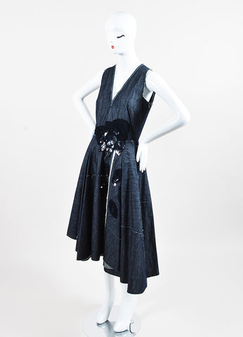 Bottega Veneta Blue Raw Denim Mesh Rhinestone Fringe Sleeveless Dress Side