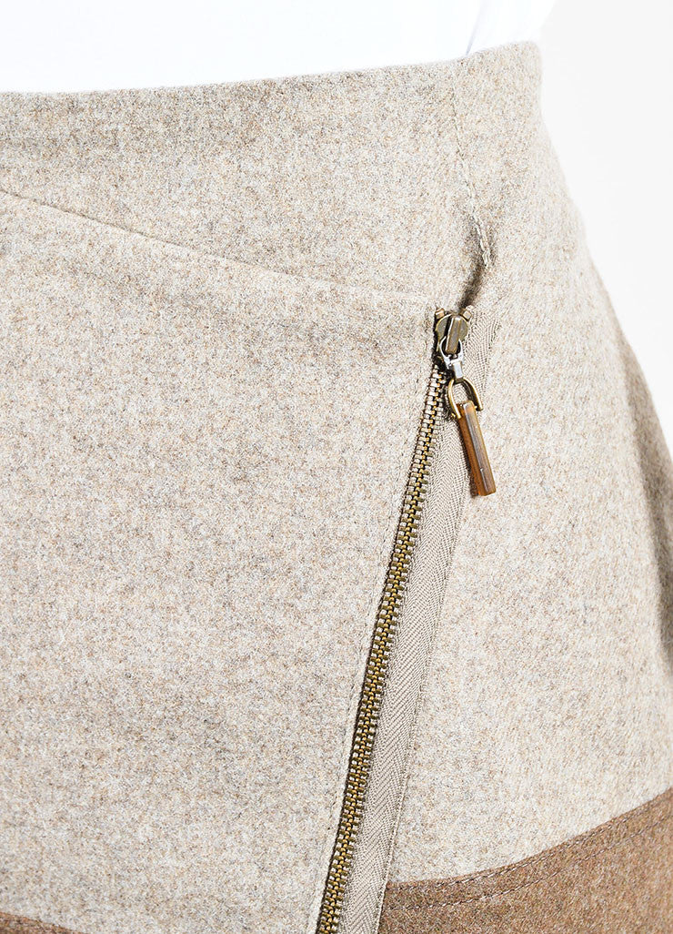 Beige and Brown Brunello Cucinelli Wool Striped Asymmetrical Zip Wrap Skirt Detail