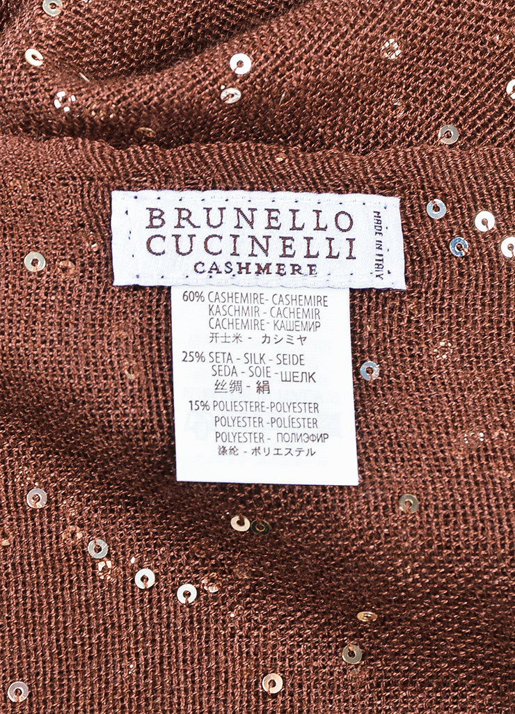 Brunello Cucinelli Brown and Gold Cashmere and Silk Blend Sequin Fringe Scarf Brand