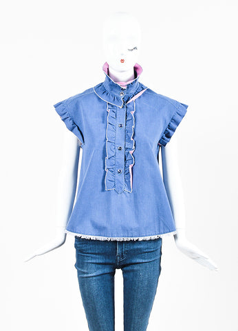 Chanel Blue Pink Cotton Denim Ruffle Frayed Edge Button Up A-Line Top Frontview