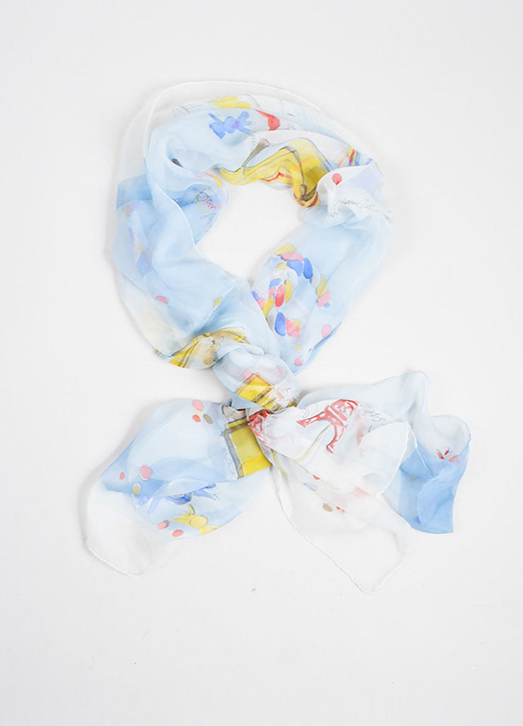 Blue and Multicolor Chanel Silk Candy Print Sheer Oblong Scarf Frontview