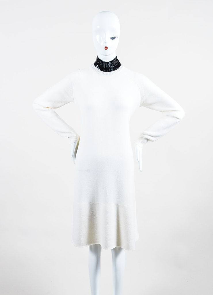 Cream and Black Christian Dior Cashmere Sequin Collar Sweater Dress Frontview