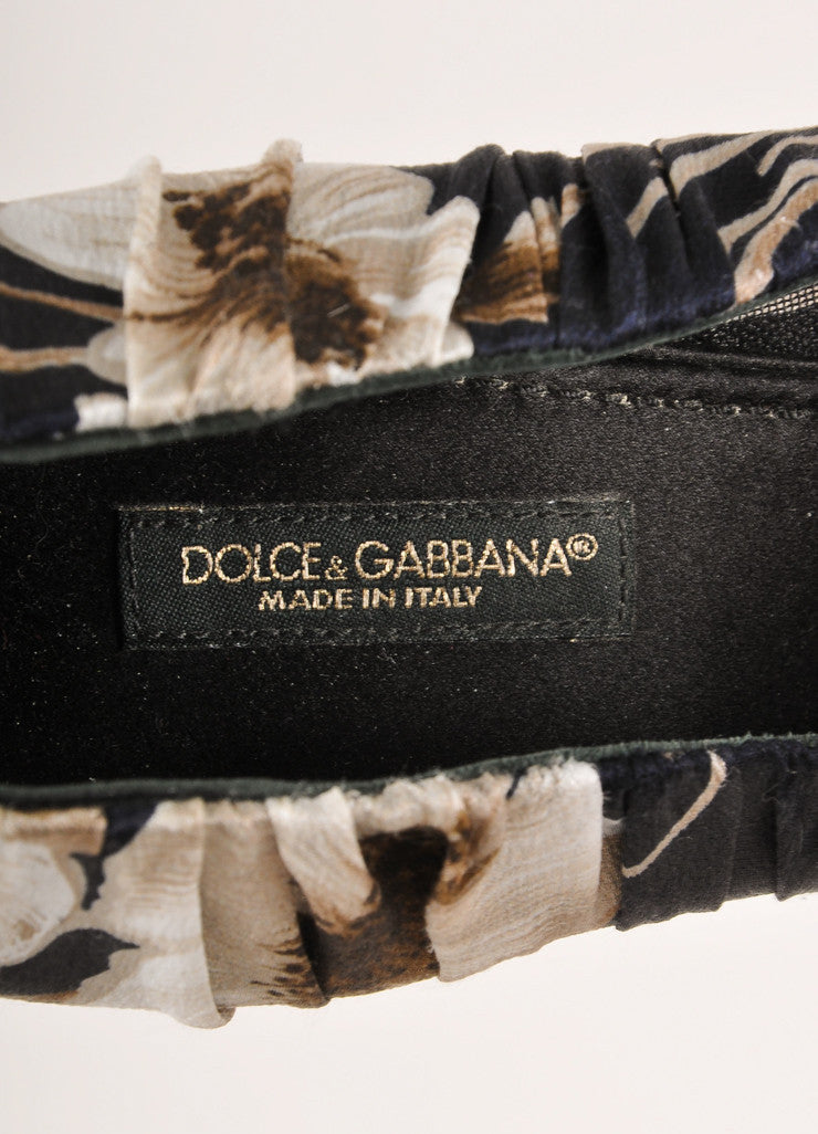 Dolce & Gabbana Black and Grey Floral Print Ruched Satin Pointed Toe Pumps Brand