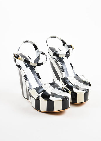 Dolce & Gabbana Black and White Patent Leather Wedge Sandals Frontview