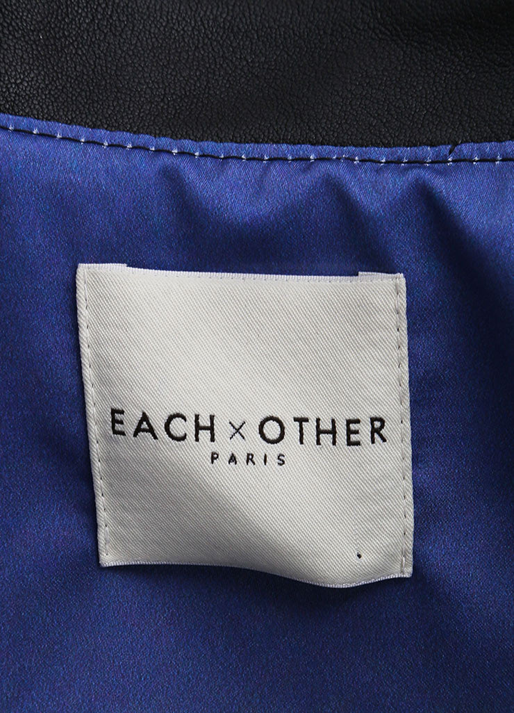 Each x Other Navy and White Leather Polka Dot Print Moto Jacket Brand