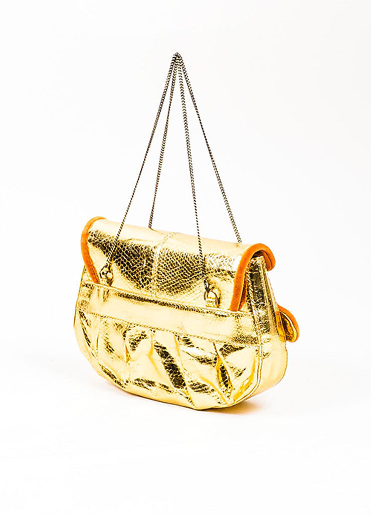 "Metallic Gold Fendi Snakeskin Leather and Velvet Floral Buckle ""Mini B"" Clutch Bag Sideview"