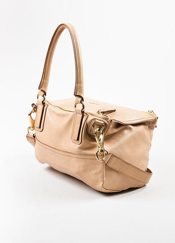 "Givenchy Beige Tan Leather ""Medium Pandora"" Slouchy Messenger Shoulder Bag Sideview"