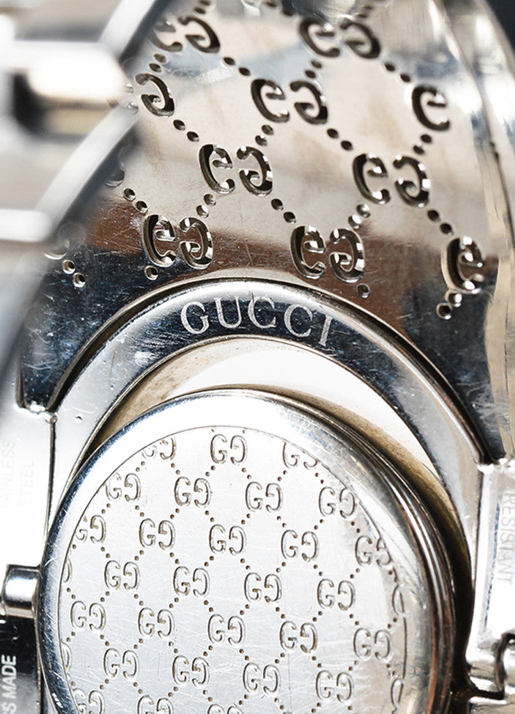 "Gucci Stainless Steel Brown ""Twirl"" Monogram Bangle Bracelet Watch Brand"