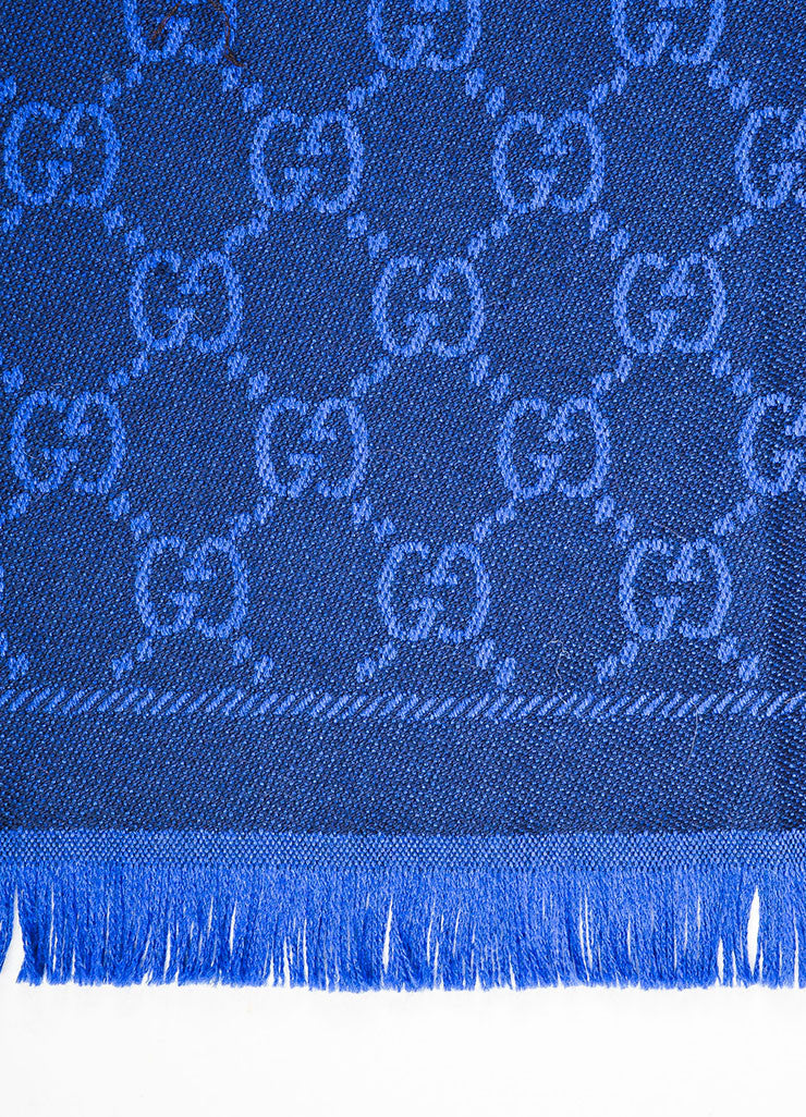 Royal Blue and Black Gucci Wool Monogram Fringe Trimmed Long Wrap Scarf Detail 2