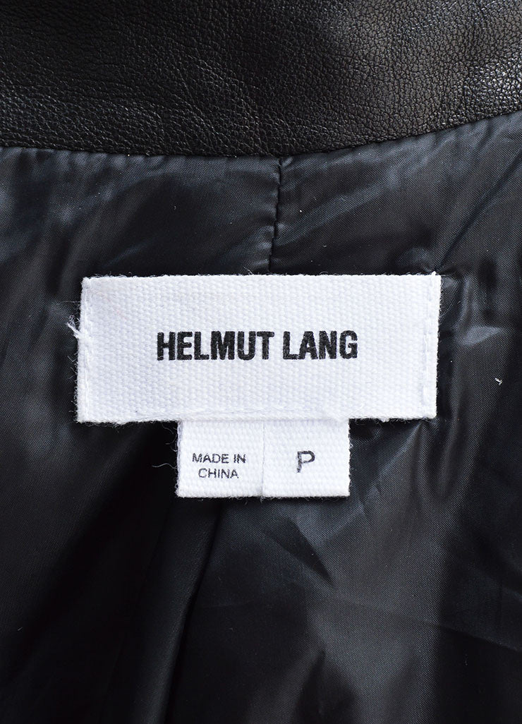 Helmut Lang Black Leather Down Zip Moto Short Puffer Coat Brand