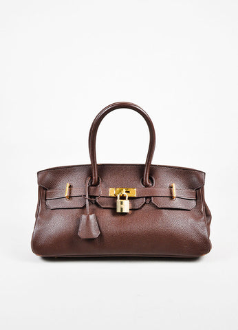 "Hermes ""Gold"" Brown Clemence Leather Top Handle ""Birkin 35"" Tote Bag"