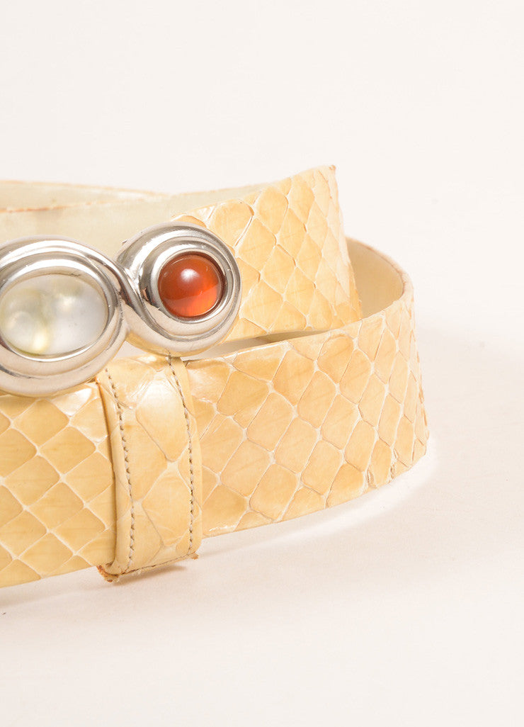 Judith Leiber Tan Leather Snakeskin Stone Embellished Belt Detail