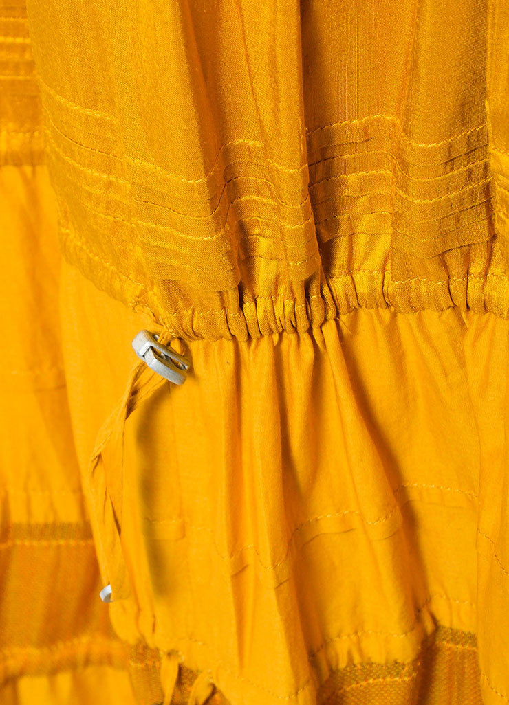 Mustard Yellow KaufmanFranco Cotton Leather Trim Tiered Strapless Dress Detail