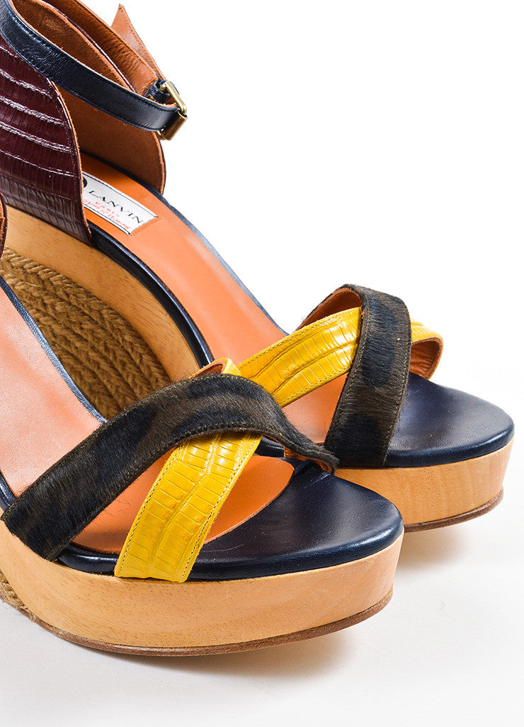 Black, Red, and Yellow Lanvin Pony Hair Lizard Wood Espadrille Sandals Detail