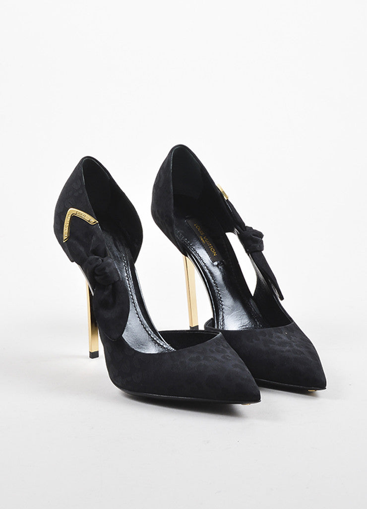 "Black Louis Vuitton Gold Tone Satin Print Knot D'Orsay ""Grace"" Pumps Front"