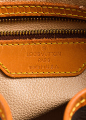 "Brown Louis Vuitton Coated Canvas 'LV' Monogram ""Petit Bucket"" Handbag Brand"