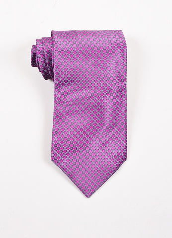 Men's Brioni Purple and Grey Silk Chain Print Necktie Frontview