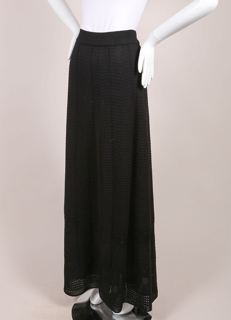M Missoni Black Textured Wool Blend Knit Maxi Column Skirt Sideview