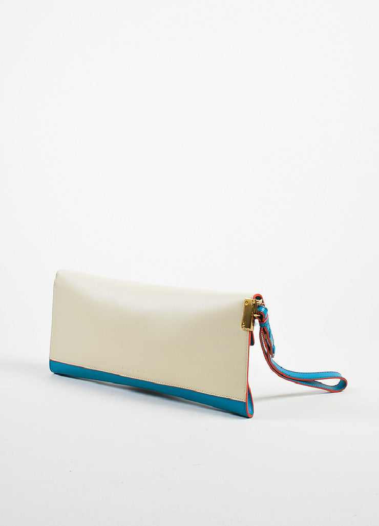 "Marni ""Vivid Blue Antic White"" Leather ""Origami"" Clutch Bag Sideview"