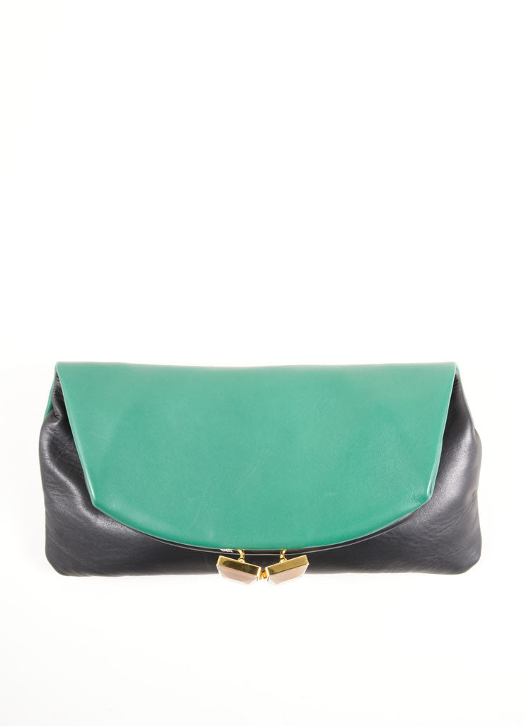 "Marni Green and Black Lambskin Foldover ""Muppet"" Clutch Bag Frontview"