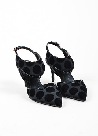 "Black Nicholas Kirkwood Polka Dot Flocked Slingback ""Leda"" Pumps Frontview"