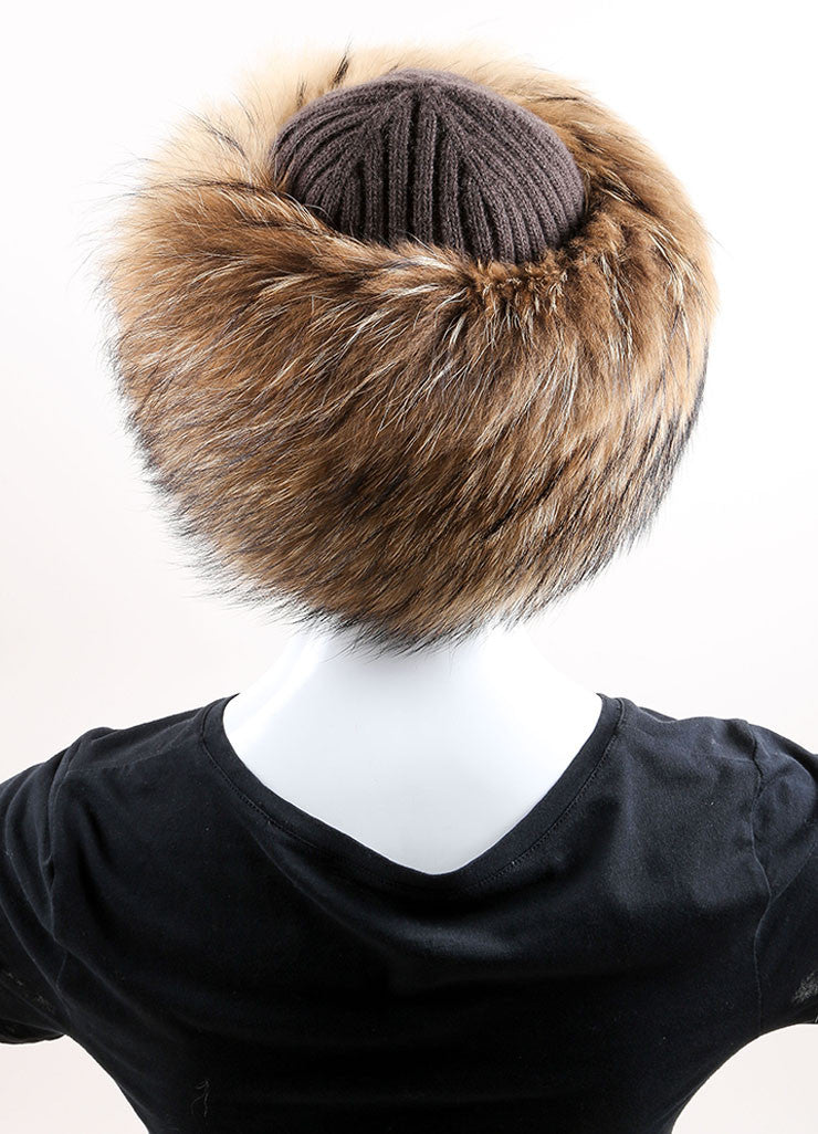 Prada Brown and Black Raccoon Fur, Wool, and Cashmere Knit Cossak Cappello Hat Backview