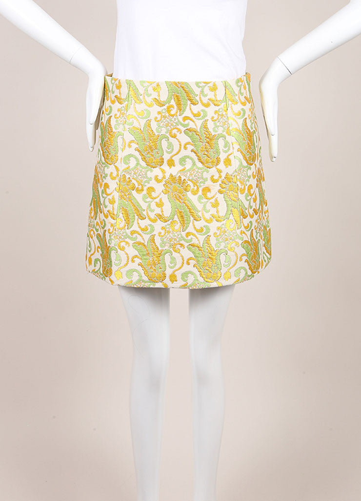 Prada Cream, Green, and Yellow Cotton and Silk Brocade Short A Line Skirt Frontview