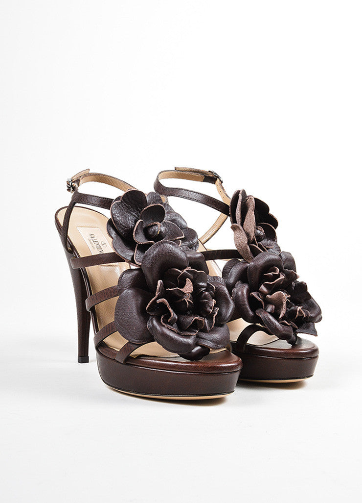 Brown Valentino Leather Oversized Flower Strappy Ankle Strap Sandals Frontview