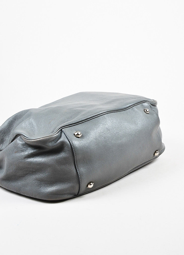 "Yves Saint Laurent Grey Leather Stingray Handle ""Roady"" Hobo Bag Bottom View"