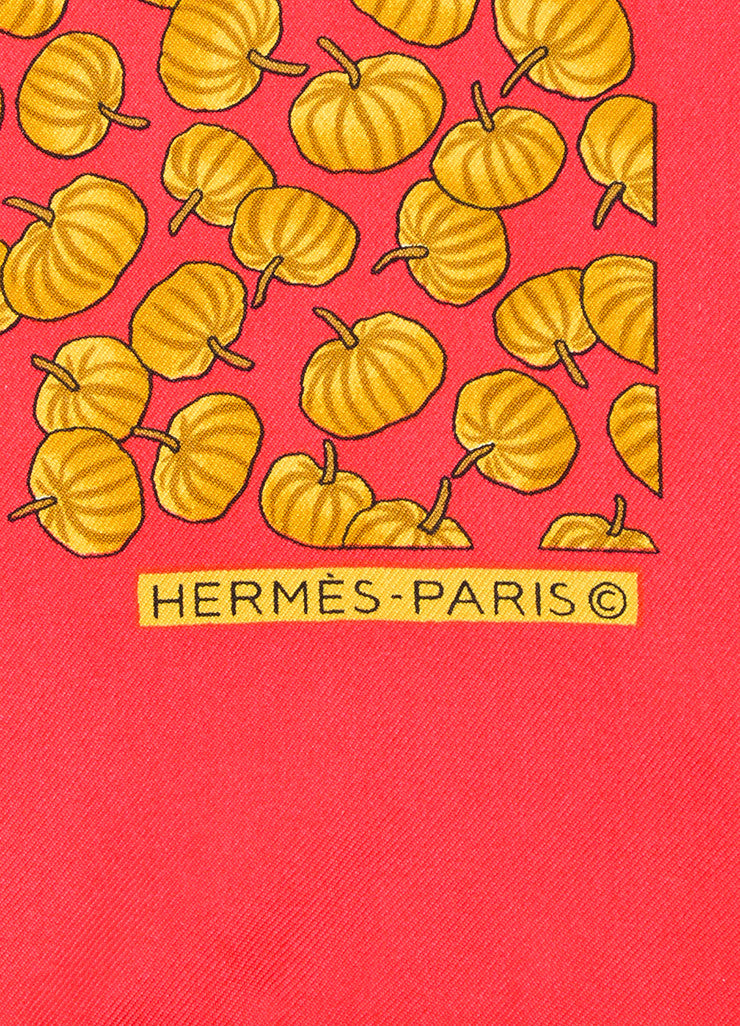 Hermes Red, Orange, and Brown Pumpkin Print Pocket Square Handkerchief Brand