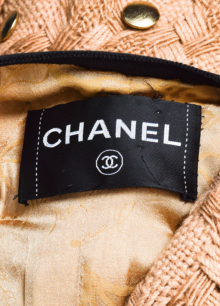 Tan and Black Chanel Woven Button Embellished Skirt Suit Brand