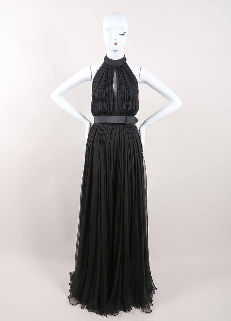 Alexander McQueen Black Silk Chiffon Halter Cut Out Back Gown Frontview