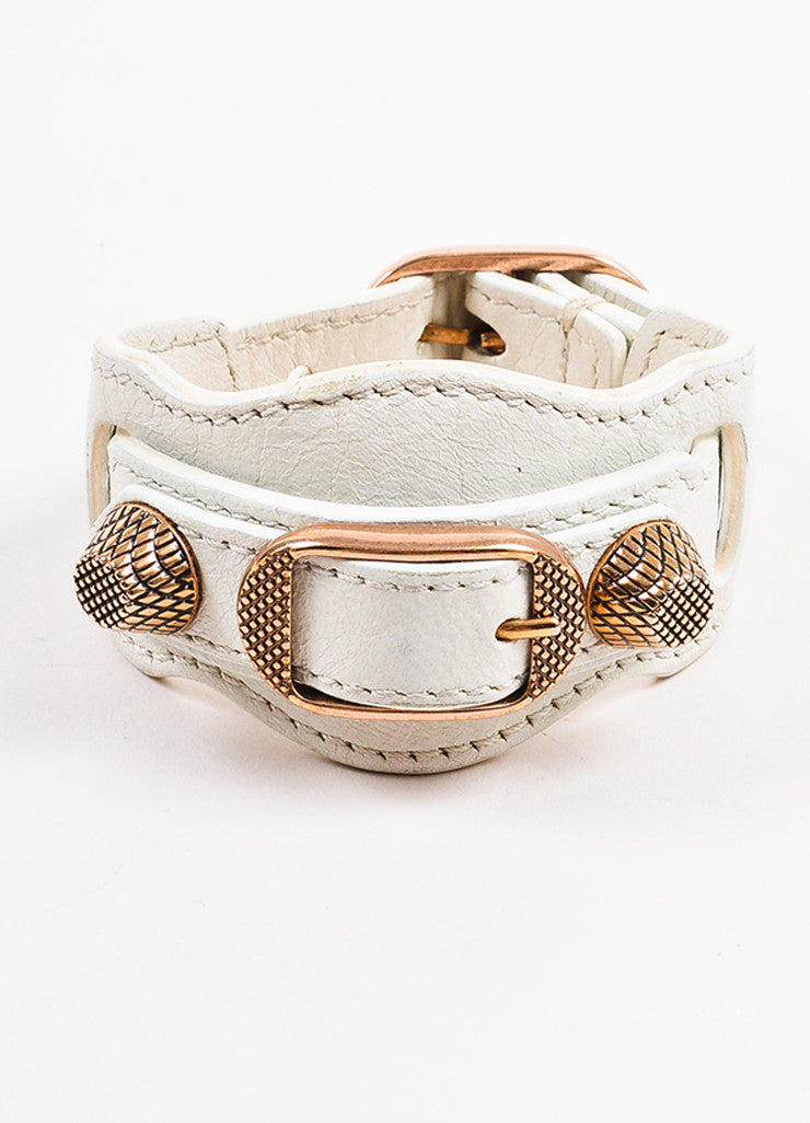 "Balenciaga White and Rose Gold Toned Leather ""Arena Giant"" Buckle Bracelet Frontview"